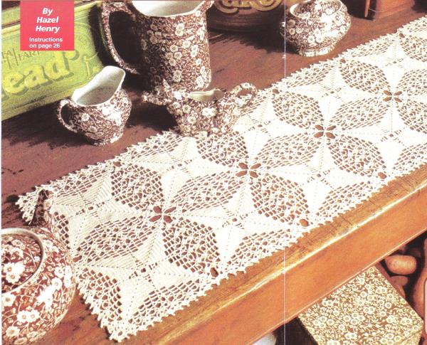Crochet Patterns Lace Table Runners : Evergreen Lace Table Runner & Jar Toppers Crochet Pattern ...