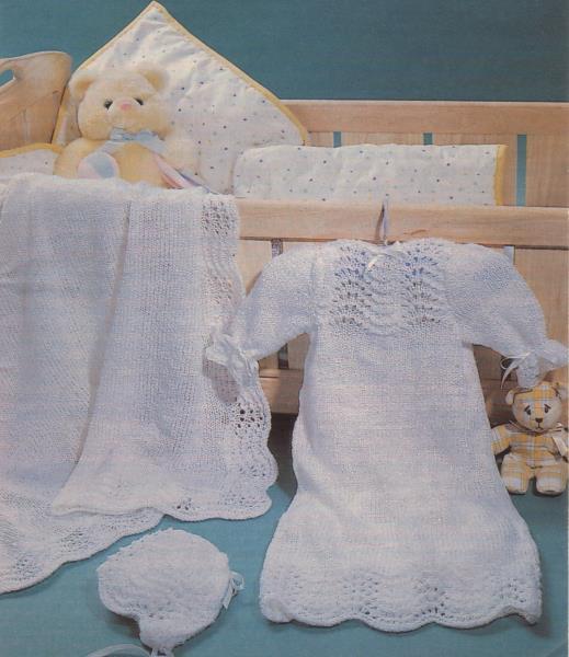 Feather Fan Christening Baby Set Knitting Pattern Instructions Ebay