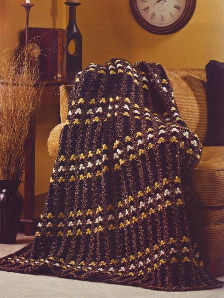 Gold Nugget Tweed Afghan Rug Crochet Pattern Instructions Ebay